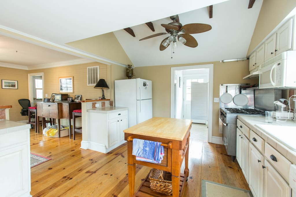 Kitchen opens into living room