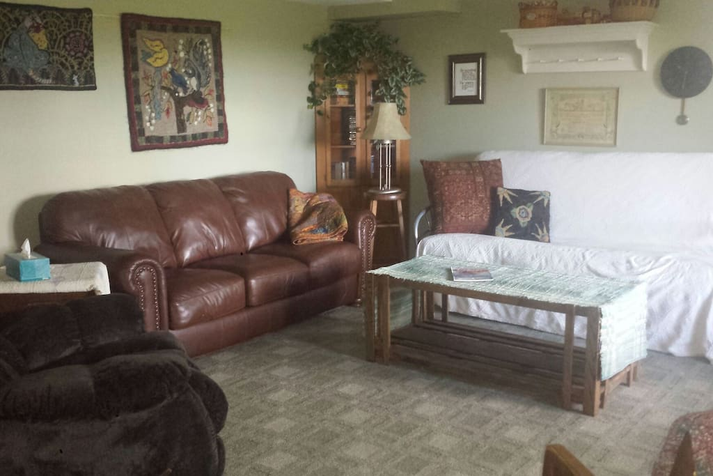 Futon in living room area with space to spread. Great for a get away. Flat screen t.v. with dvd player.