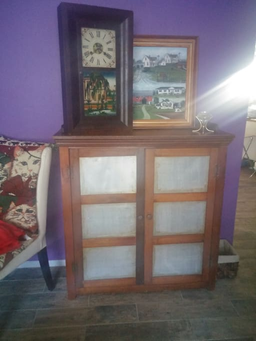 Antique cabinet - contains the movie collection