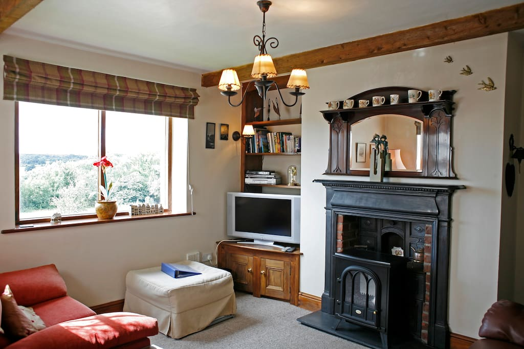 Lounge with log effect burner and views out of Windows. A lovely room to relax.