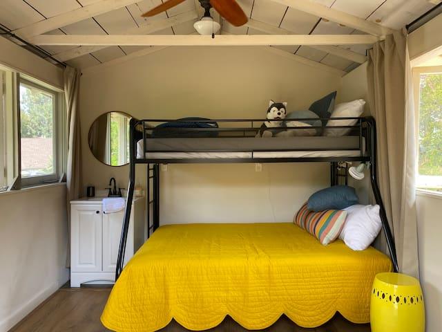 View into upper bedroom (Cabin 7) from the external door.