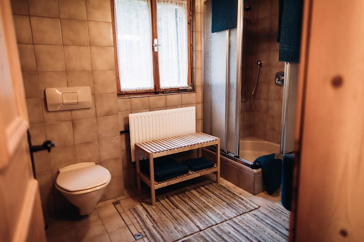 WC im Badezimmer mit E-Heizung