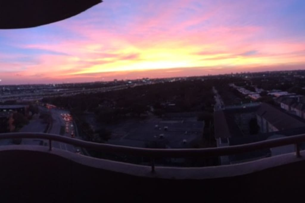 Gorgeous view of the sunset from the balcony.