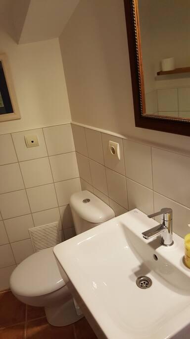 El baño es nuevo. Tiene ducha con mampara. servicio de toallas