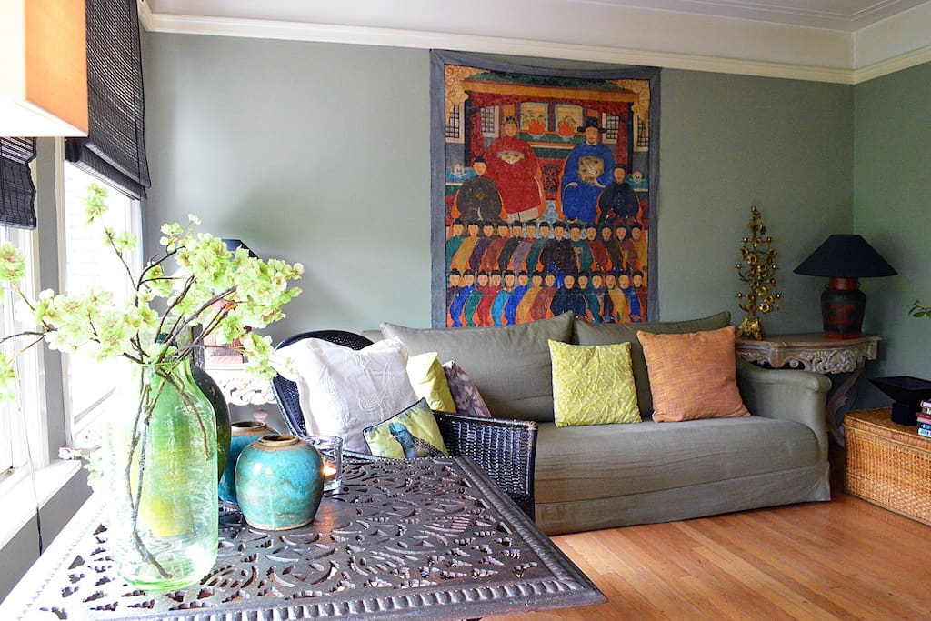 The living room, with some artsy deco