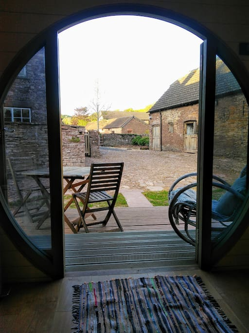 View into the courtyard from the cabin