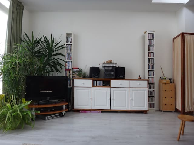 Livingroom with tv and stereo.