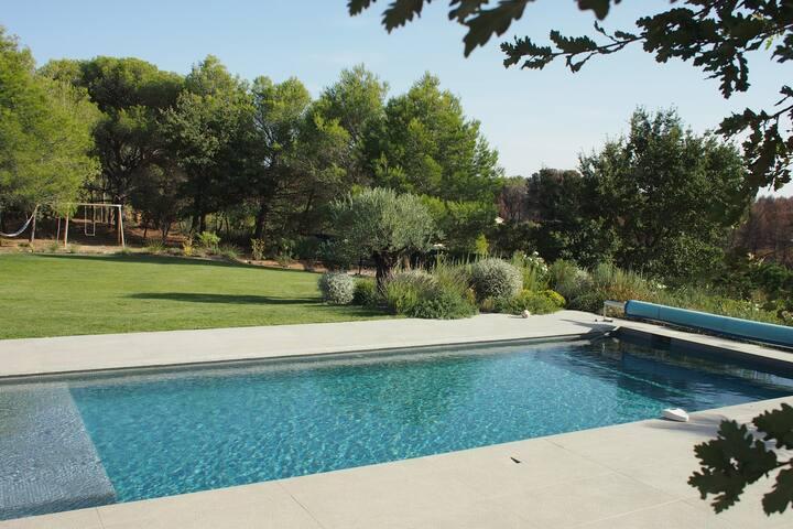piscine et espace pelouse