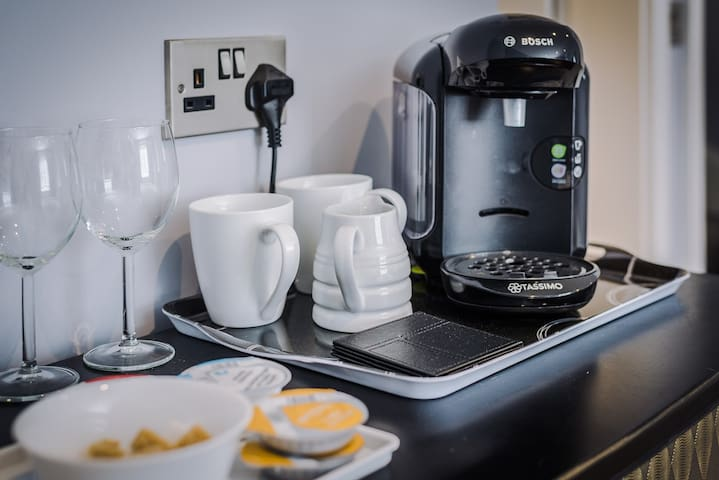 Coffee Machine and fridge in both rooms