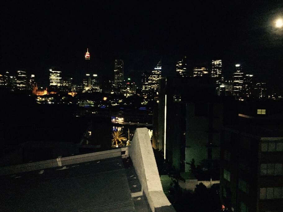 View from main room at night