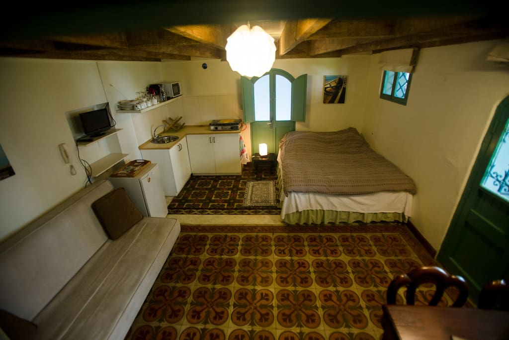 Mini-apartment with fully equipped kitchenette and sofa bed for 3rd person