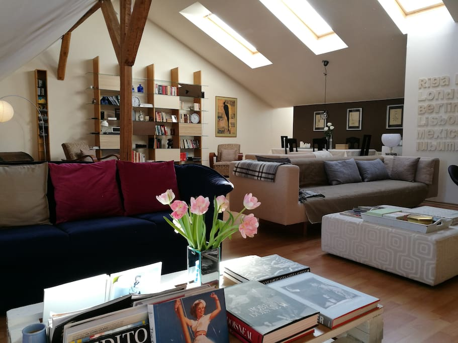 This is the living room with blue sofas for reading and light one for chilling
