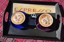 Optional FairTrade Organic Coffee homemade Flat whites with local raw cow milk $3.50 each