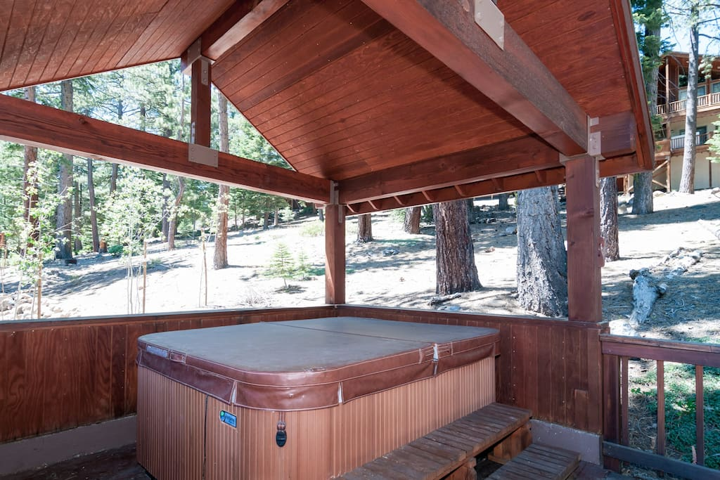 Covered new hot tub cleaned before every visit