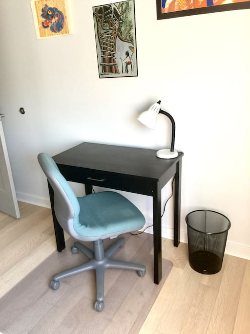 Desk space in your private bedroom