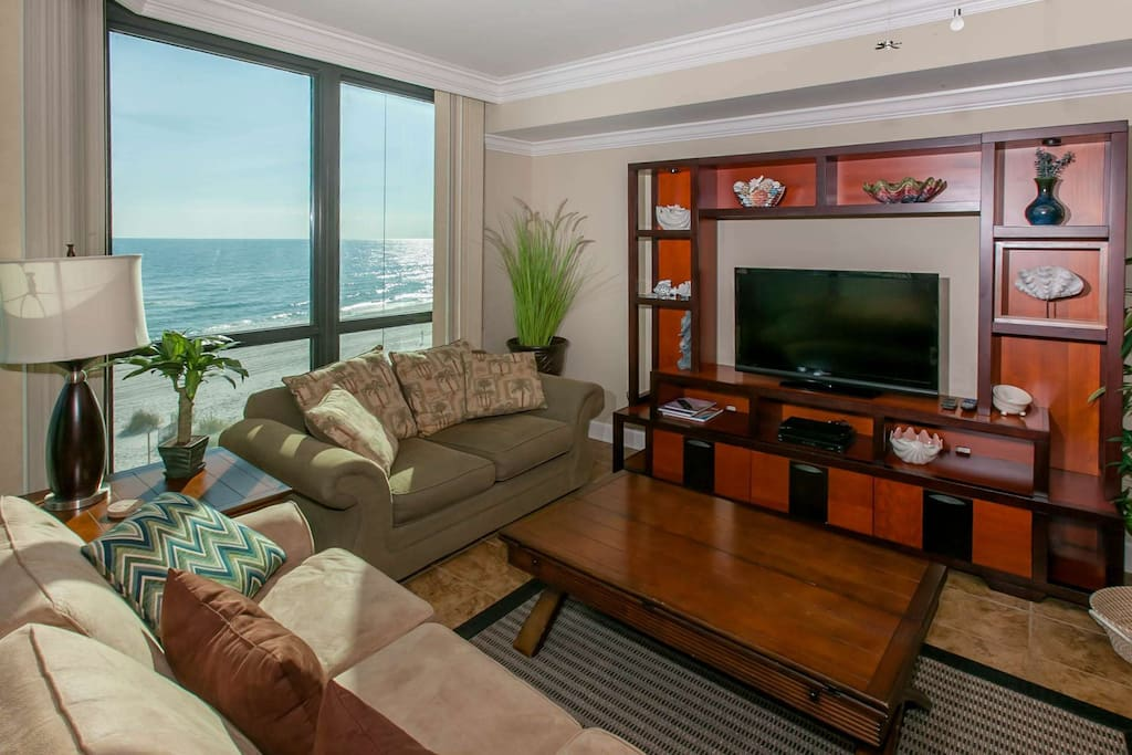 Living room with views of Gulf