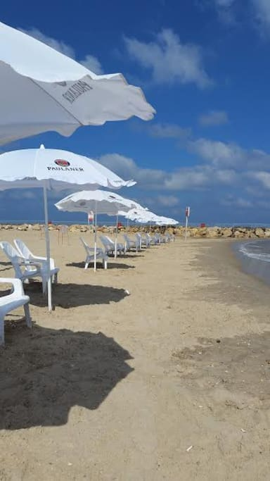 Tel Baruch beach. 5 min drive or 20 min walk