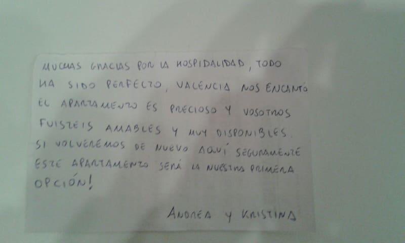 carta agradecimiento de un huésped.