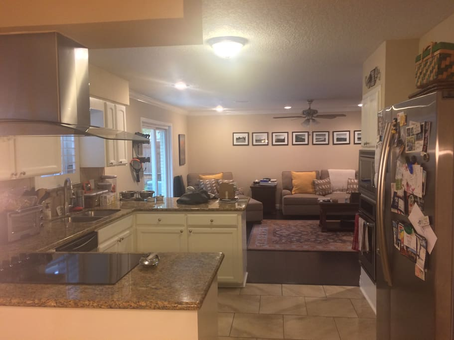 The modern and roomy kitchen is perfect for meals and snacks in between Super Bowl activities.