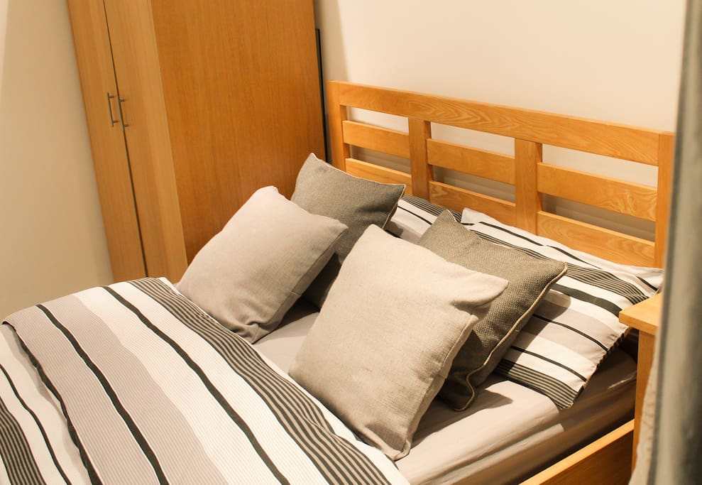 Comfortable Double bed for guests with fresh sheets