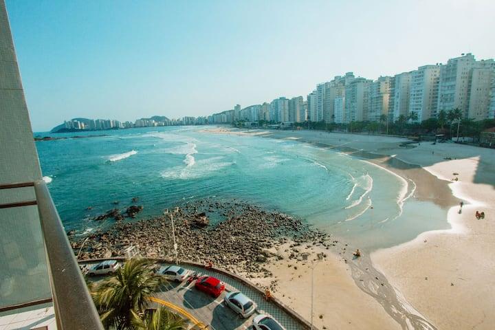 Apartamento pé na areia no Guarujá Praia das Pitangueiras