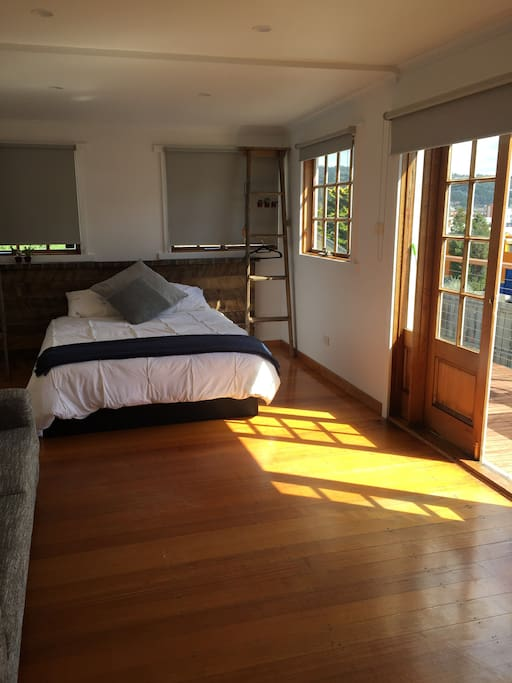 Master Queen bedroom, filled with sun and has a separate heater.