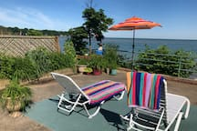 Early summer lake front guest patio area... Click to view all of the photos and the look of the seasons on the lake!
