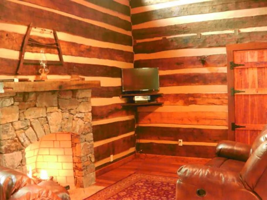 Living area with gas logs