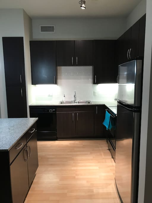 Full upgraded kitchen with granite counter tops, microwave, refrigerator, oven, electric stove, and dishwasher