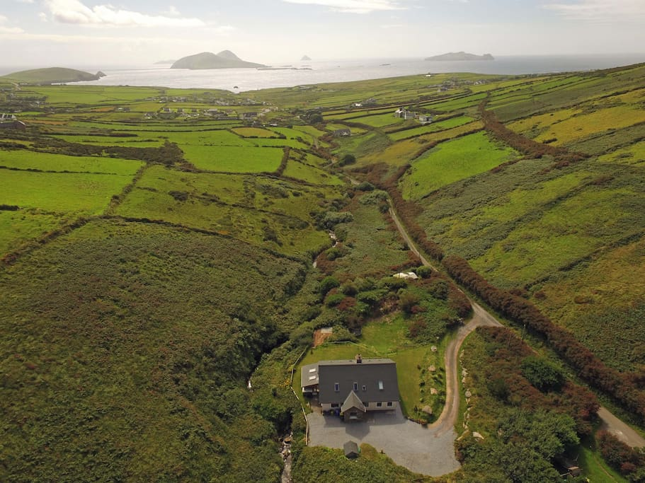Most westerly point in Europe! The house with the village of Dunquin, Atlantic Ocean and Blasket Islands in shot.