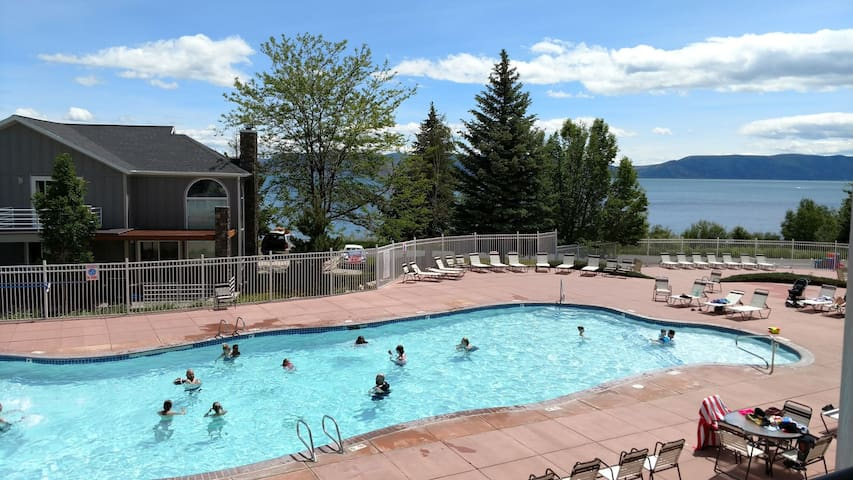 Outdoor pool with lake view