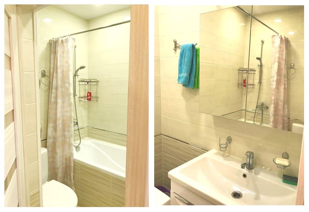 Совмещенная ванна с туалетом .
