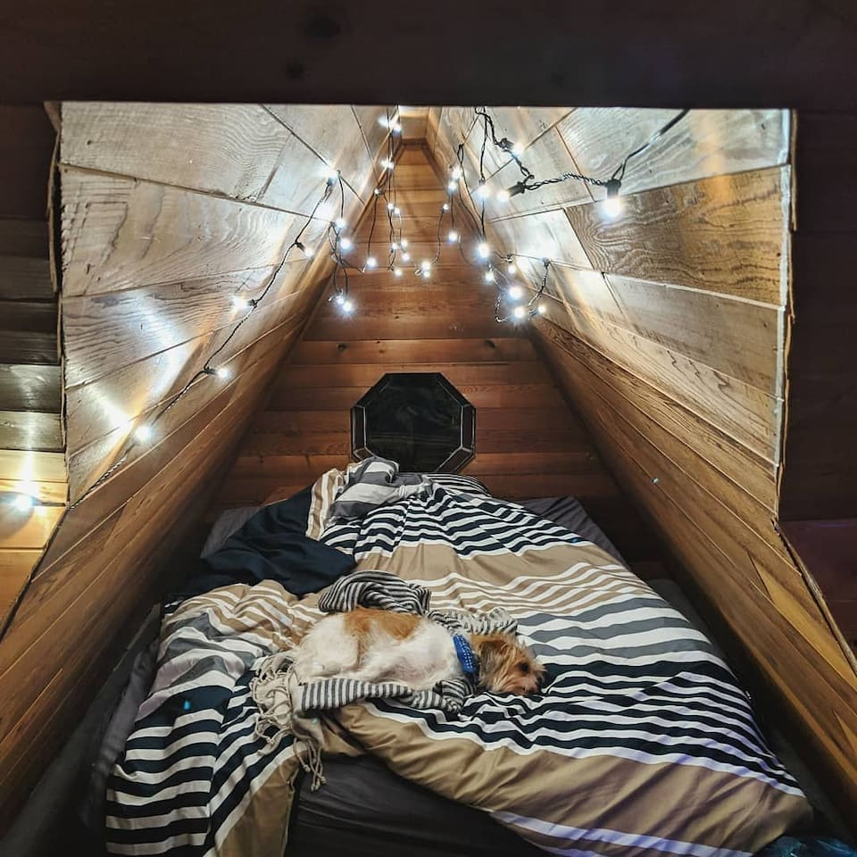 Attic guest room double bed and futon in same room , Dog not included.