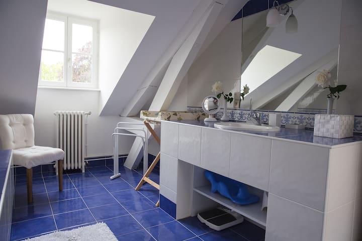 Salle de bain du 2ème étage, vue sur le parc, vasque, baignoir, douche et toilette