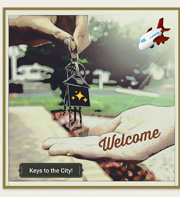 "Welcome! Before we give you the ""Keys to the City""... Read all house rules... Thanks!"