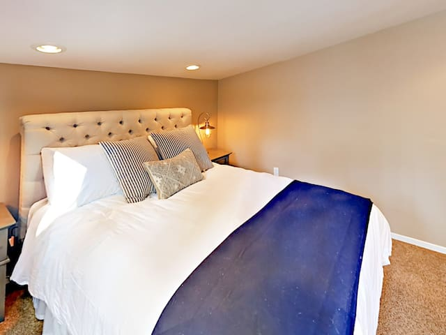 Cozy master bedroom with a Biddeford blanket to keep you warm and cozy!
