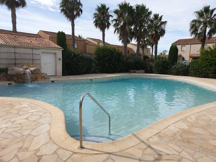 Maison valras plage dans residence avec piscine