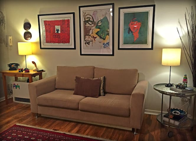 The lounge room showing the new artwork