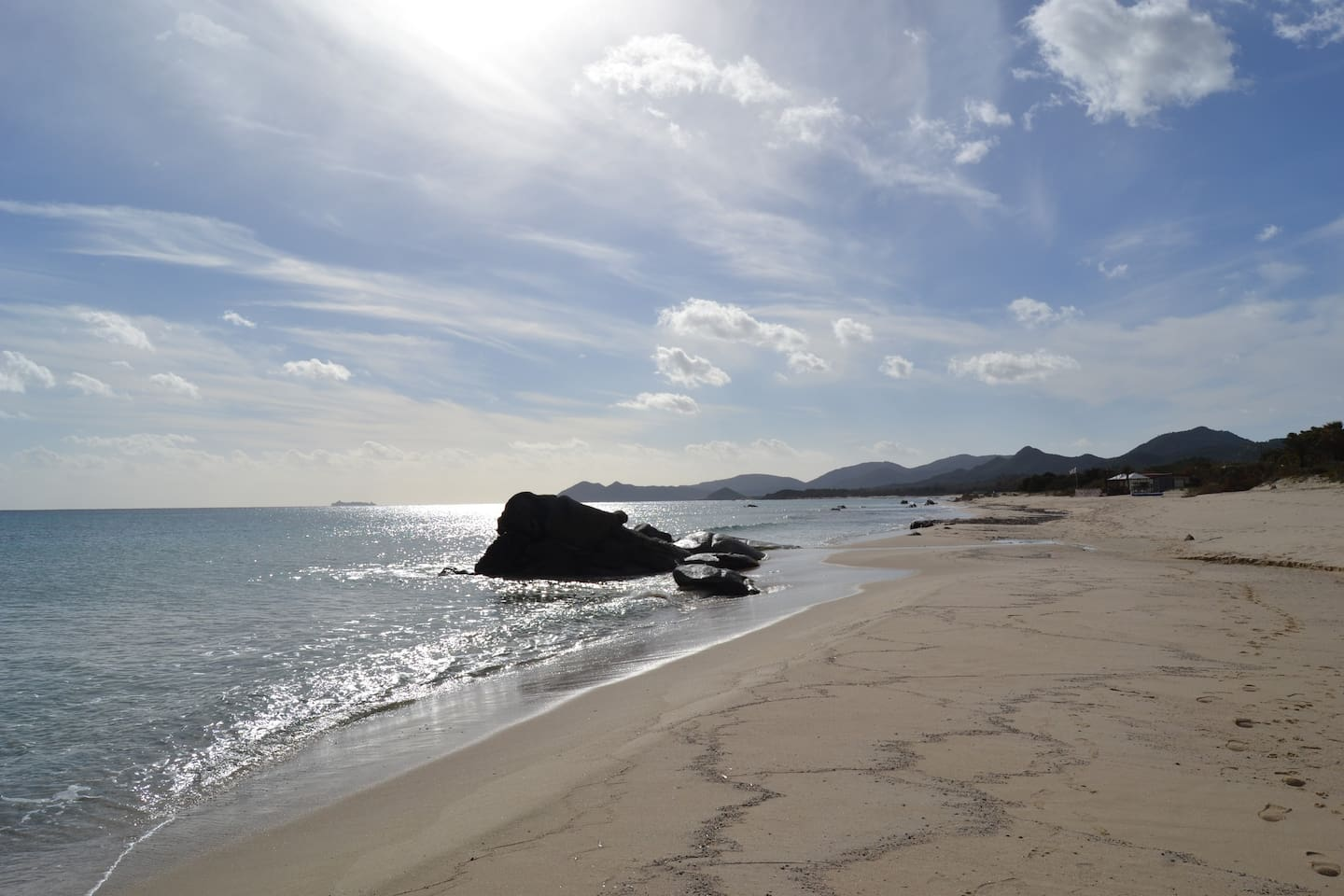 """The beach of Costa Rei, only 3 min. from """"La Bassotta""""."""