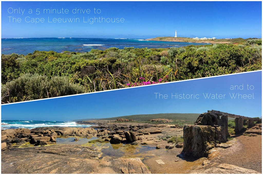Only a 5-minute drive to the Cape Leeuwin Lighthouse and to the Historic Water Wheel