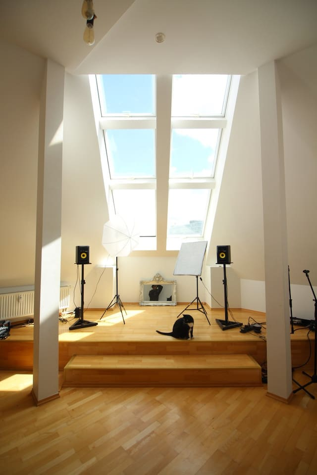 The art space - and the whole flat - has lofted ceilings and windows!