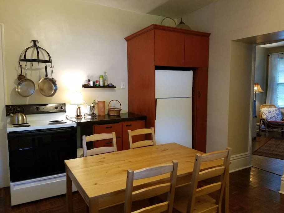 Fully equipped kitchen for making meals.