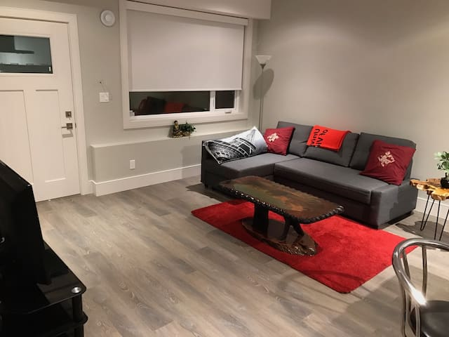Living area with double sofa bed