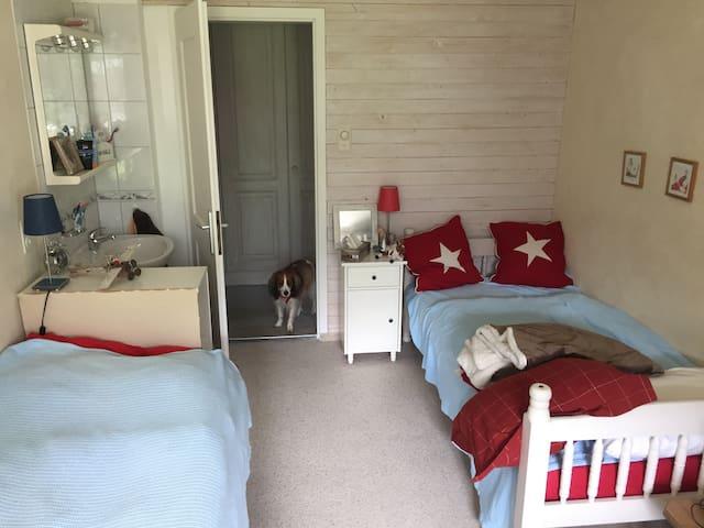 Zimmer2 mit 2 Einzelbetten und Waschbecken