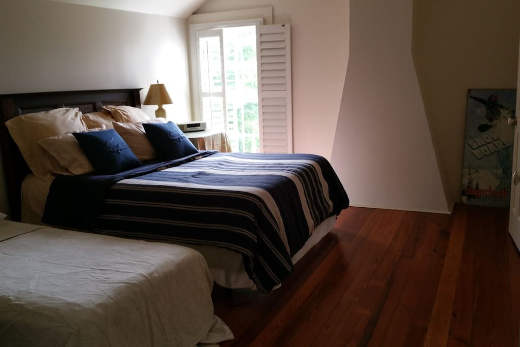 Large bedroom with queen bed and a single bed