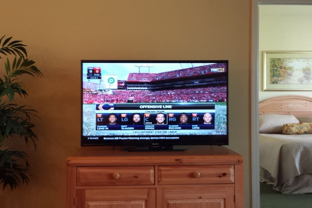 50 inch TV with Comcast cable and DVD player.  Puzzles, books and DVD's located in cabinet.