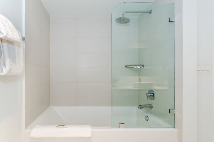 Shower Tub where you can unwind with a good book and a warm bath!