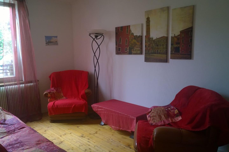 Salon avec canapés 3 places et 2 fauteuils . Pas de TV pour le moment . WIFI .
