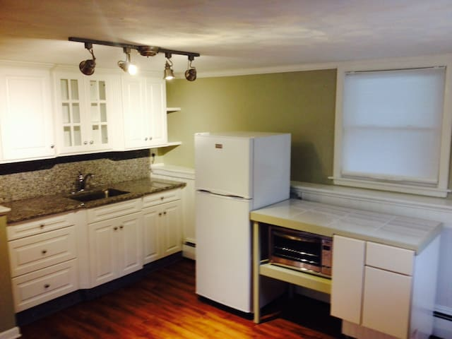 Beautiful new granite kitchen w frig, convection toaster oven, single burner, (microwave, coffee maker will be provided, but not pictured)
