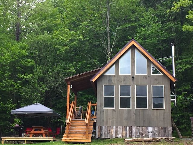 The cabin has soaring windows looking out on the mountain ridge. Perched on a mountainside in the secluded hamlet of Equinunk you are in total tranquility but also just a few miles from the adventures of the Delaware River and many quaint towns.